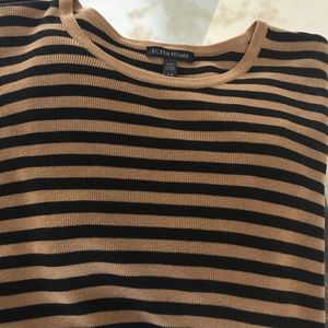 Eileen Fisher Striped Sweater, Clay/Blk, Sz L
